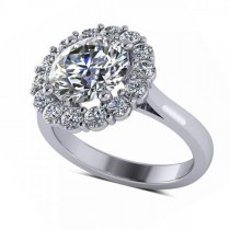 Diamond Accented Halo Engagement Ring in 18k White Gold (3.20ct)