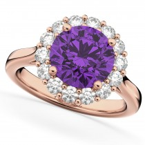 Halo Round Amethyst & Diamond Engagement Ring 14K Rose Gold 3.26ct