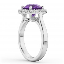 Halo Round Amethyst & Diamond Engagement Ring 14K White Gold 3.26ct