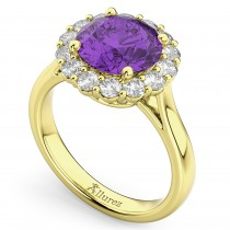 Halo Round Amethyst & Diamond Engagement Ring 14K Yellow Gold 3.26ct