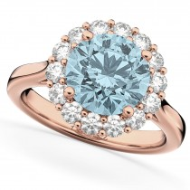 Halo Round Aquamarine & Diamond Engagement Ring 14K Rose Gold 3.70ct