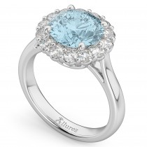 Halo Round Aquamarine & Diamond Engagement Ring 14K White Gold 3.70ct