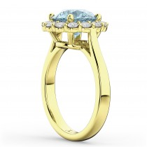 Halo Round Aquamarine & Diamond Engagement Ring 14K Yellow Gold 3.70ct