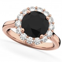 Round Black Diamond & Diamond Engagement Ring 14K Rose Gold (3.20ct)