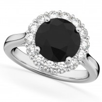 Round Black Diamond & Diamond Engagement Ring 14K White Gold (3.20ct)