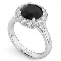 Round Black Diamond & Diamond Engagement Ring 14K White Gold (3.20ct)