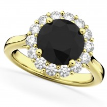 Round Black Diamond & Diamond Engagement Ring 14K Yellow Gold (3.20ct)