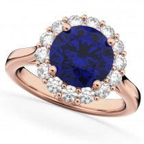 Halo Round Blue Sapphire & Diamond Engagement Ring 14K Rose Gold 4.45ct