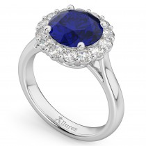 Halo Round Blue Sapphire & Diamond Engagement Ring 14K White Gold 4.45ct