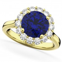 Halo Round Blue Sapphire & Diamond Engagement Ring 14K Yellow Gold 4.45ct