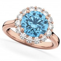 Halo Round Blue Topaz & Diamond Engagement Ring 14K Rose Gold 4.45ct