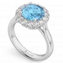 Halo Round Blue Topaz & Diamond Engagement Ring 14K White Gold 4.45ct