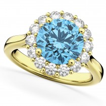 Halo Round Blue Topaz & Diamond Engagement Ring 14K Yellow Gold 4.45ct