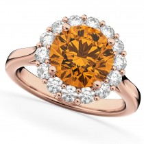 Halo Round Citrine & Diamond Engagement Ring 14K Rose Gold 3.70ct