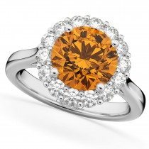Halo Round Citrine & Diamond Engagement Ring 14K White Gold 3.70ct