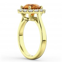 Halo Round Citrine & Diamond Engagement Ring 14K Yellow Gold 3.70ct