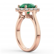 Halo Round Emerald & Diamond Engagement Ring 14K Rose Gold 4.40ct