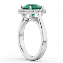 Halo Round Emerald & Diamond Engagement Ring 14K White Gold 4.40ct