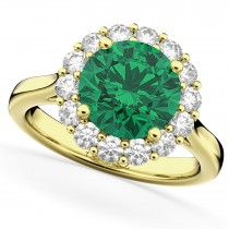 Halo Round Emerald & Diamond Engagement Ring 14K Yellow Gold 4.40ct