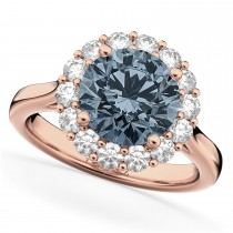 Halo Round Gray Spinel & Diamond Engagement Ring 14K Rose Gold 3.70ct