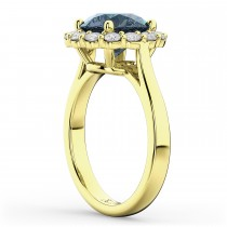 Halo Round Gray Spinel & Diamond Engagement Ring 14K Yellow Gold 3.70ct