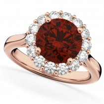 Halo Round Garnet & Diamond Engagement Ring 14K Rose Gold 4.45ct