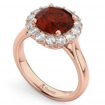 Halo Round Garnet & Diamond Engagement Ring 14K Rose Gold 4.45ct