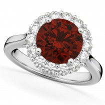 Halo Round Garnet & Diamond Engagement Ring 14K White Gold 4.45ct