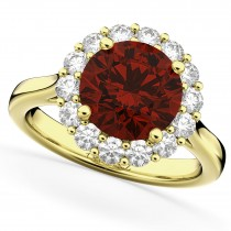 Halo Round Garnet & Diamond Engagement Ring 14K Yellow Gold 4.45ct