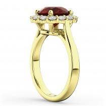 Halo Round Garnet & Diamond Engagement Ring 14K Yellow Gold 4.45ct