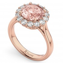 Halo Round Morganite & Diamond Engagement Ring 14K Rose Gold 3.10ct