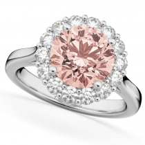 Halo Round Morganite & Diamond Engagement Ring 14K White Gold 3.10ct