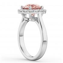 Halo Round Morganite & Diamond Engagement Ring 14K White Gold 3.10ct