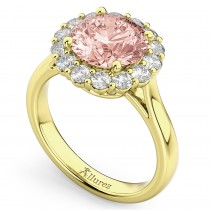 Halo Round Morganite & Diamond Engagement Ring 14K Yellow Gold 3.10ct