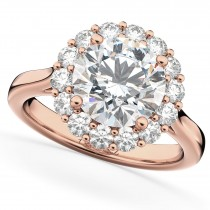 Halo Round Moissanite & Diamond Engagement Ring 14K Rose Gold 2.78ct