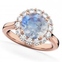 Halo Round Moonstone & Diamond Engagement Ring 14K Rose Gold 4.45ct