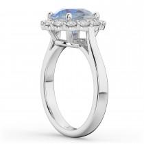 Halo Round Moonstone & Diamond Engagement Ring 14K White Gold 4.45ct
