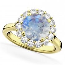 Halo Round Moonstone & Diamond Engagement Ring 14K Yellow Gold 4.45ct