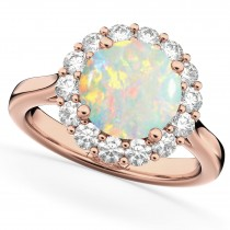 Halo Round Opal & Diamond Engagement Ring 14K Rose Gold 2.30ct