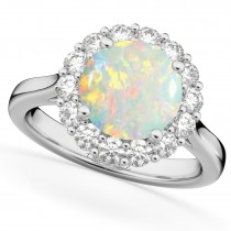 Halo Round Opal & Diamond Engagement Ring 14K White Gold 2.30ct