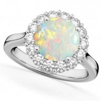 Halo Round Opal & Diamond Engagement Ring 14K White Gold 2.30ct