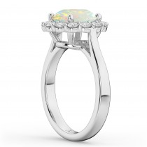 Halo Round Opal & Diamond Engagement Ring 14K White Gold 2.30ct|escape
