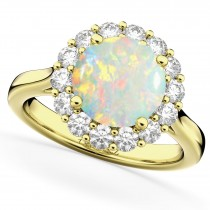 Halo Round Opal & Diamond Engagement Ring 14K Yellow Gold 2.30ct