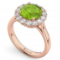 Halo Round Peridot & Diamond Engagement Ring 14K Rose Gold 4.45ct