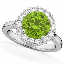 Halo Round Peridot & Diamond Engagement Ring 14K White Gold 4.45ct