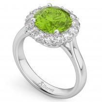 Halo Round Peridot & Diamond Engagement Ring 14K White Gold 4.45ct