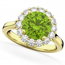 Halo Round Peridot & Diamond Engagement Ring 14K Yellow Gold 4.45ct