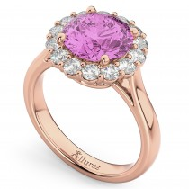 Halo Round Pink Sapphire & Diamond Engagement Ring 14K Rose Gold 4.45ct