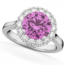 Halo Round Pink Sapphire & Diamond Engagement Ring 14K White Gold 4.45ct