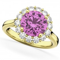 Halo Round Pink Sapphire & Diamond Engagement Ring 14K Yellow Gold 4.45ct